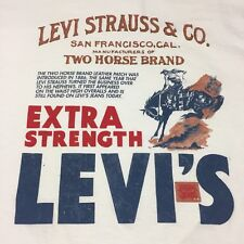 Vintage Levi Strauss & Co. 2-sided XL T-Shirt Jeans Denim Cowboy Rodeo Overalls