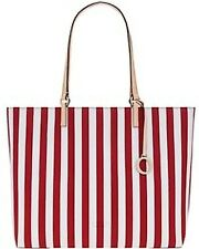 OROTON Estate Stripe Tote Bag New Leather Trim Real Red Tags Bag