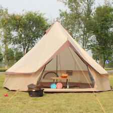 4M Canvas Mesh Bell Tents Outdoor Luxury Camping Beige Bell Tents Glamping New.