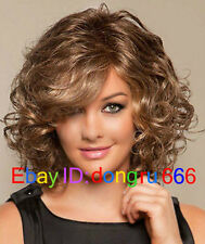 Fashion wig New Charm Women's Medium long Brown Blonde Curly Natural Hair wigs