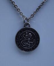 SAINT ST CHRISTOPHER Protect Us Pendant Necklace Christian Catholic Round Badge