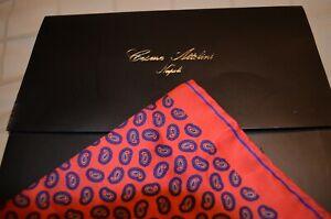 Cesare Attolini Pocket Square 100% Silk Orange Paisley-- NEW