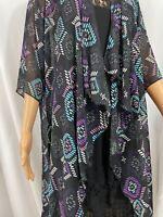 Lularoe Women's Shirley Kimono Black and purple pattern size M - Medium