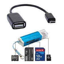 Mini USB 2.0 All in 1 Memory Card Reader + Micro Data OTG Cable for Cellphones