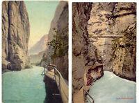 SCHWEIZ AARSCHLUCHT RITZLIHORN, ca. 1910, 2 ungebr. farb. AK's, li. AK kl. Mngl.