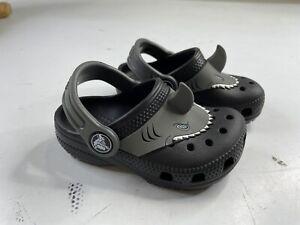 Crocs Toddler Boys Shark Black Clogs Size C6 Unique Rubber Waterproof Shoes Baby