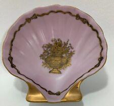 Vintage Porcelain Shell Trinket Dish Pink and Gold