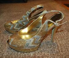 "Enzo Angiolini EASTARLITE Gold Silver 5"" stiletto heels peep-toe (8M)"