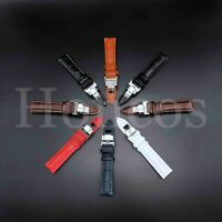 12-24MM Watch Band Strap Leather Alligator Deployment Clasp Buckle Fit Breitling