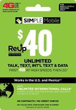 SIMPLE Mobile - $40 ReUp Refill Prepaid Card
