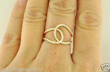 14k Solid Rose Gold Crossover Natural Diamond Ring stylish Right hand  0.50ct