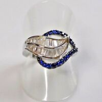 Saphir Baguette Weißtopas Blatt Design Ring 925er Sterlingsilber 58 (18,4 mm Ø)