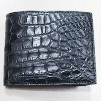 Genuine Crocodile Alligator Skin Leather Bifold Wallet, Black
