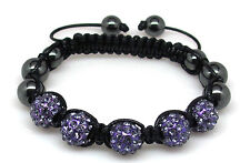 Purple Crystal Shamballa Bracelet Beaded Hematite Disco Ball Hip Hop One Size