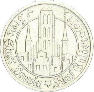 Danzig Freie Stadt 5 Gulden 1923 Utrecht Marienkirche Silber vz J D9