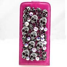 Totenkopf Handy Tasche Samsung Galaxy S5 Schutz hülle Flip Case Cover Pink F005