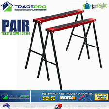 Saw Horse 2pc Pair PRO Trestle Steel Foldable Work Bench Stand Support Legs