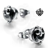 Silver earrings made with black swarovski crystal round stud soft gothic 1.25ct