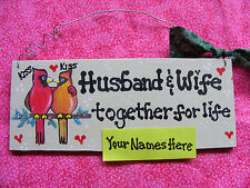 "COUPLES LOVE SIGN w/CARDINALS: ""HUSBAND & WIFE...TOGETHER FOR LIFE"" 3x7""W/ NAMES"