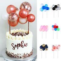 Party 10 Mini Rose Gold Silver Red Confetti Balloon Cake Topper Birthday Decor