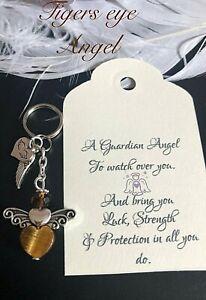 Healing crystal guardian Angel Luck & Protection Keyring Charm Heart Chakra Gift