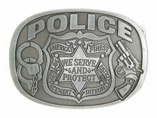 Police America's Finest We Serve and Protect Law Enforcement Metal Belt Buckle