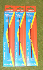 REEVES PONY HAIR No 6 ROUND PAINT BRUSH x 3 Ideal For WATER & POSTER COLOURS ETC
