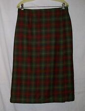 L.L.BEAN Lined Wrap Plaid Wool Straight Skirt 12 Petite~  Warm Fall Colors!