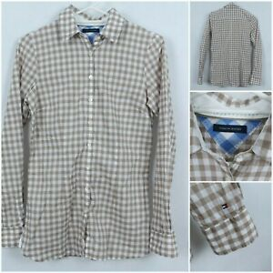 TOMMY HILFIGER Vintage Womens Brown Gingham Check Collared Shirt SIZE Small