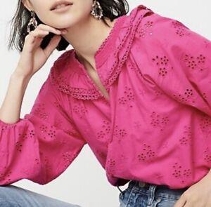 J Crew Women Sz XL Fuchsia Pink Eyelet Peasant Blouse NWT $98 Cotton Button-Up