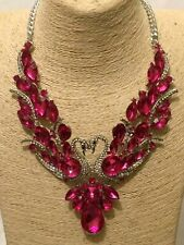 Womens Statement Big Large Pink Crystal Diamante Silver Chain Swan Necklace
