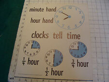 vintage 1950's Instructor kindergarden measure POSTER #8 CLOCK TELL TIME