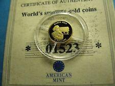 MARCO POLO JOURNEY TO CHINA 2001 LIBERIA .73 GRAMS 999 GOLD $25 COIN COA J5