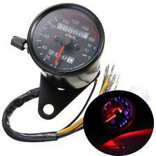Universal Motorcycle Black Dual Odometer Speedometer Gauge LED Backlight Signal