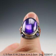 Chinese Handwork inlay purple Zircon Cloisonne silver Red Flower Adjust Ring