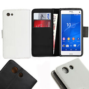 Leather Flip Wallet Case Cover For Sony Xperia  Z3 Compact Mini With Screen gard