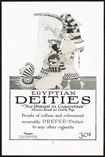 1910s Original Vintage Egyptian Deities Cigarettes Egypt Harp Art Print Ad