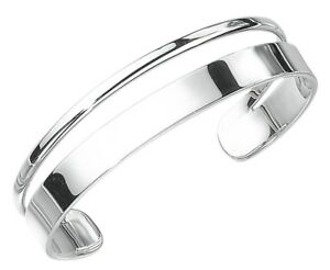 Elements 925 Polished Silver Ladies Heavyweight Oval Flat Band Torque Bangle