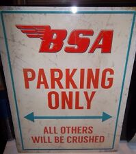 "BSA PARKING ONLY LARGE 16""X 12"" METAL SIGN 40X30cm, GOLD STAR/ROCKET/BANTAM/A10"