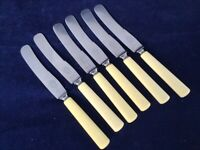 "Superb Vintage JERNBOLAGET ESKILSTUNA Stainless Faux Bone 9 3/4"" Dinner Knives a"