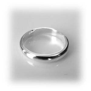 3mm Solid Sterling Silver D Shaped Wedding Ring Band