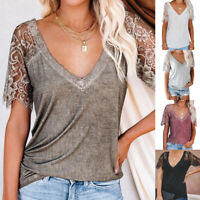 Summer Womens Lace Short Sleeve V Neck Blouse Casual Solid T Shirt Loose Top Tee