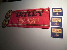 """Tetley's English Ale Bar Towel Pub Beer Man Cave 9"""" x 18"""" 5 New Coasters"""