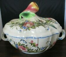 Vintage Hand Painted Soup Tureen Made in Italy Pear handle Wildflowers Signed