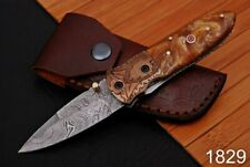 Forged Damascus Steel Folding Knife Engraved Copper Bolster bone Handle-1828
