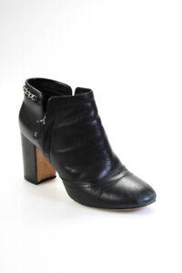 Chanel Womens Side Zip Block Heel Booties Black Leather Size 40.5