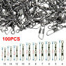 100Pcs Brass Barrel Swivel Rings w/ Interlock Snap Fishing Lure Tackle Connector
