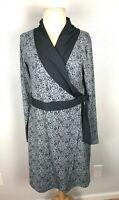 Athleta Gray Patterned Faux Wrap Dress, Size M