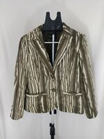 cartise sport jacket brown and cream shimmer vertical stripes textured Blazer