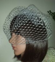 """Silver glittering birdcage wedding veil 9"""" Attached to comb  Christmas Party"""